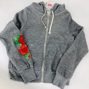 NWT WILDFOX Red Roses Embroidered Zip Hoodie